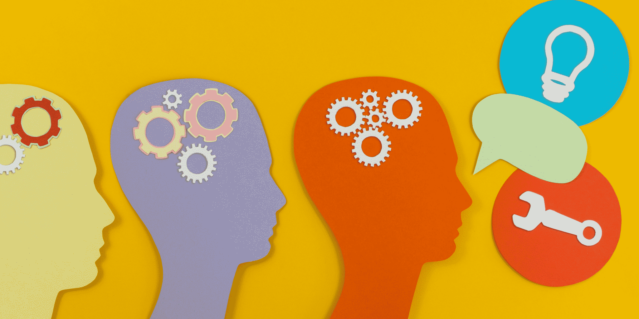 Picture of silhouettes of heads with gears communicating with each other in a yellow background.