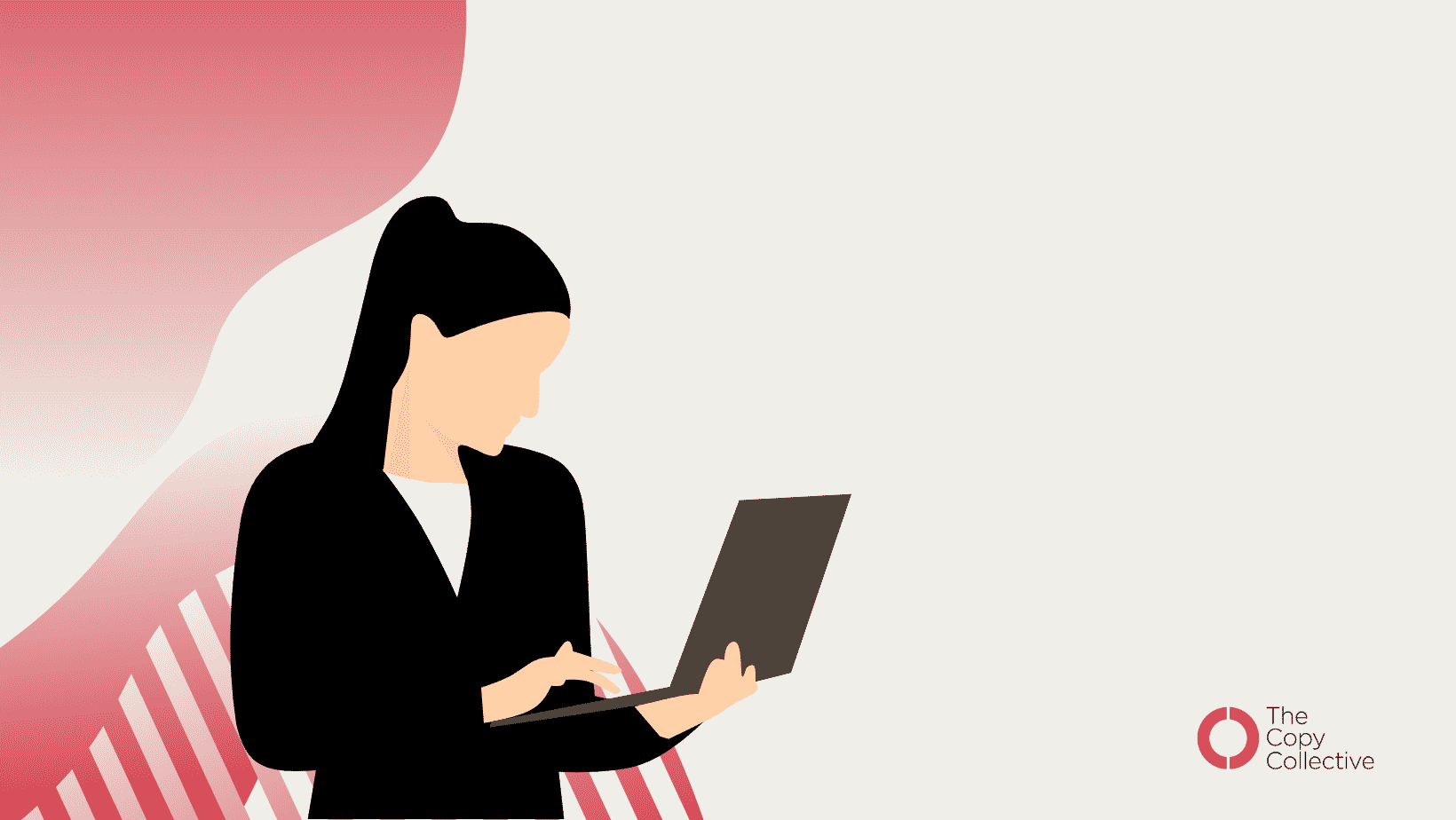 An illustrated graphic of a white woman with a brown ponytail on a laptop