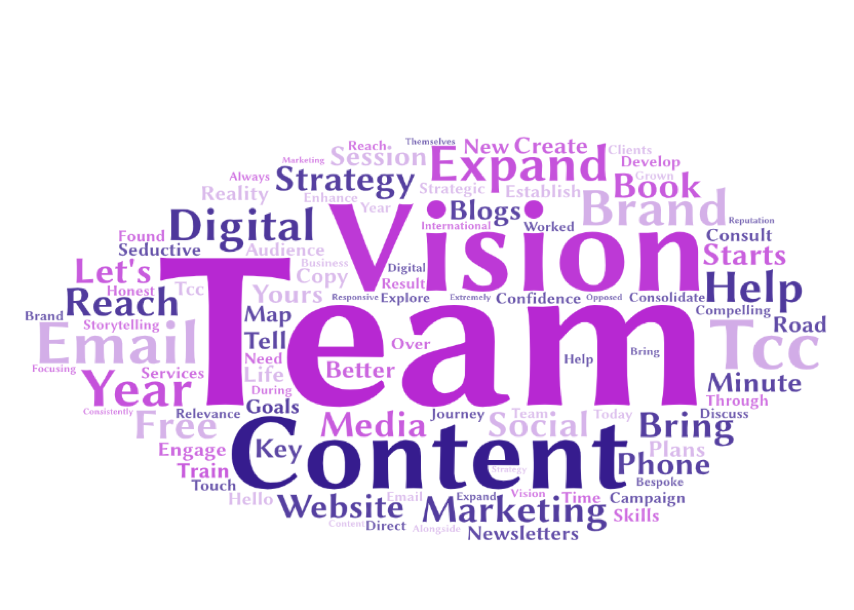 """A word cloud with the words """"team, vision, contetnt, digital, stratagy, book, brand, blog, search"""