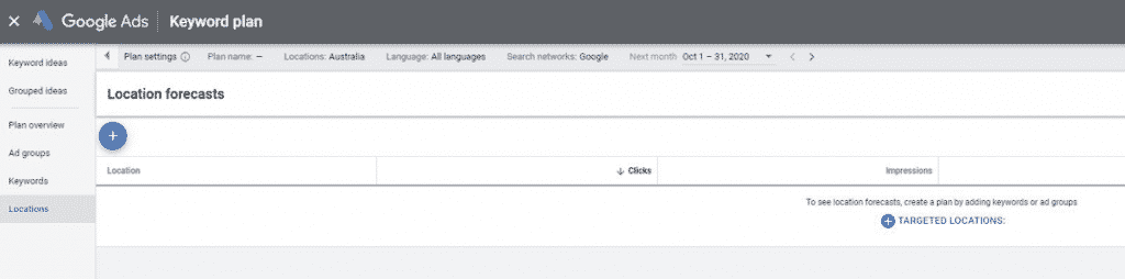 Google ads keyword plan screenscot