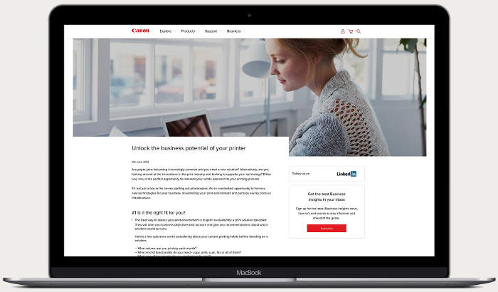 Canon business blog case study