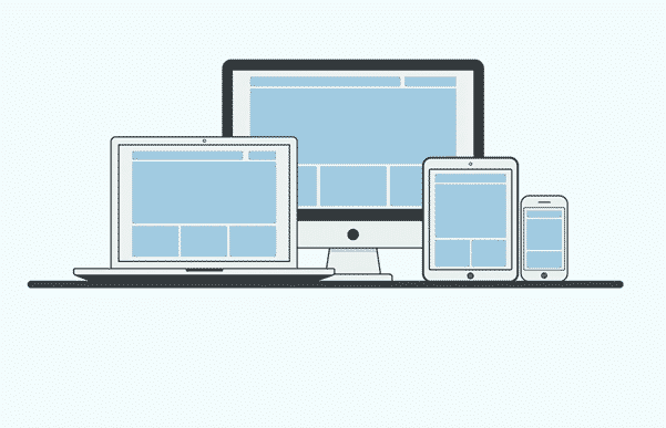 A graphic illustration of four device screens including desktop, laptop, tablet and mobile.