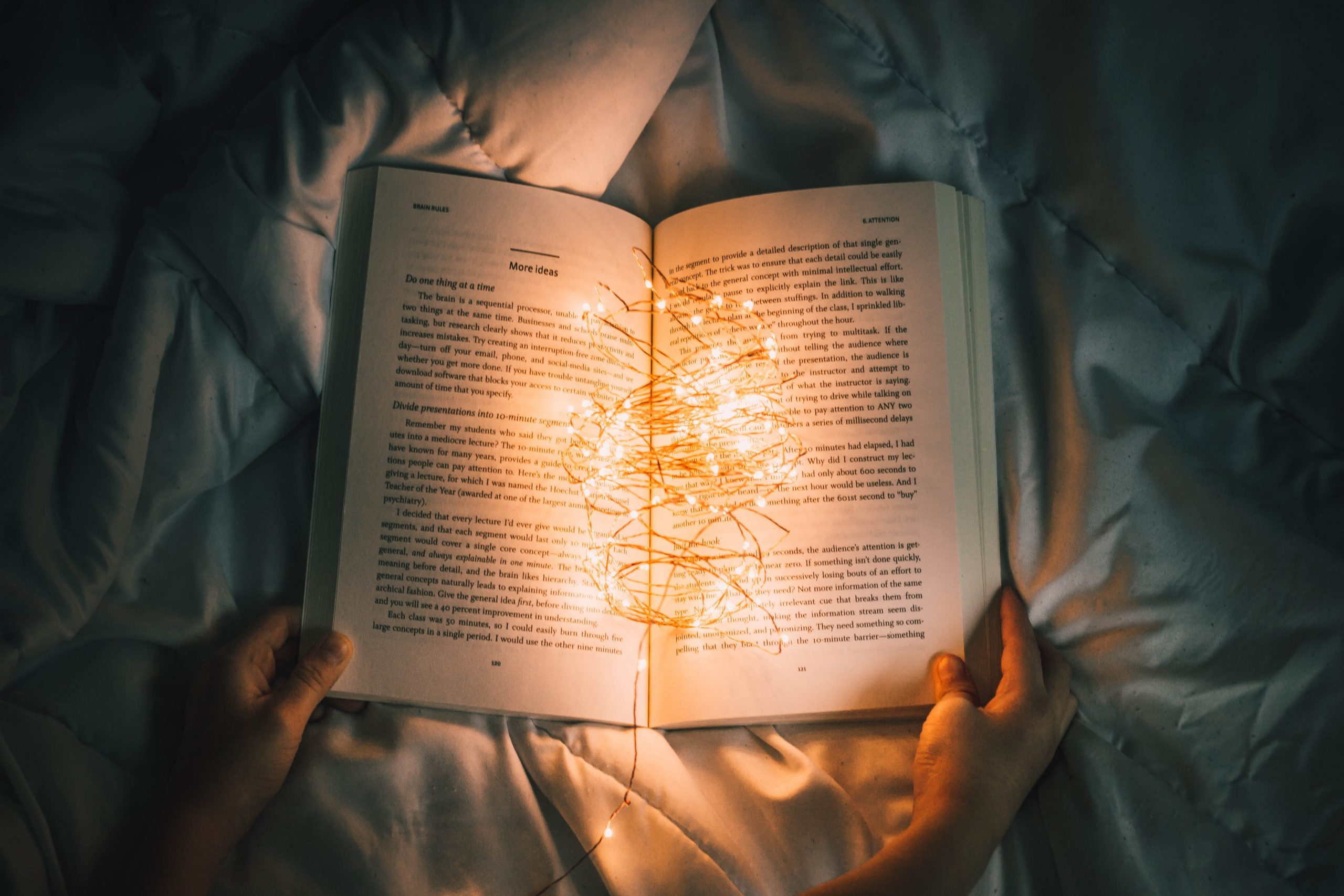 fairy lights in an open book