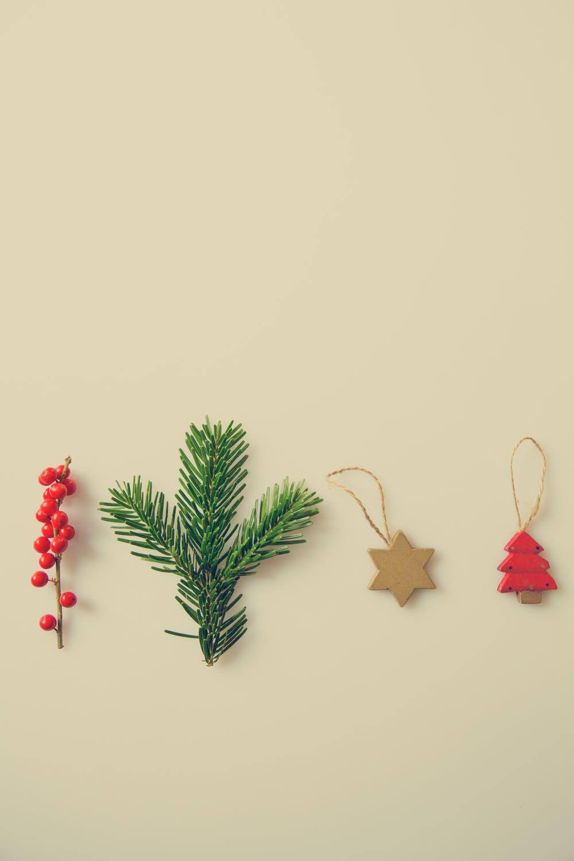 Christmas ornaments on a wall