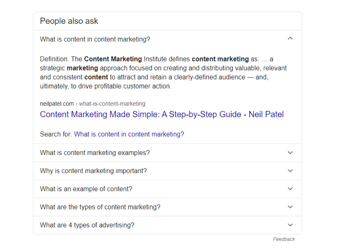 "Google result with the definition of content marketing ""a type of marketing that involves the creation and sharing of online material (such as videos, blogs, and social media posts) that does not explicitly promote a brand but is intended to stimulate interest in its products or services."""